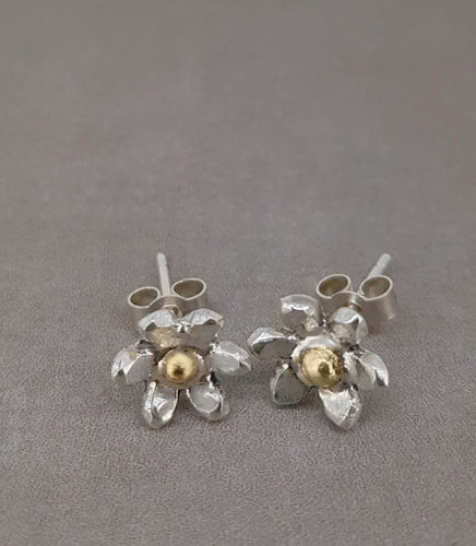 Silver and gold flower earrings