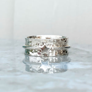 'My star' - spinning ring with star in solid gold or silver