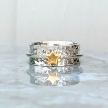 Load image into Gallery viewer, 'My star' - spinning ring with star in solid gold or silver