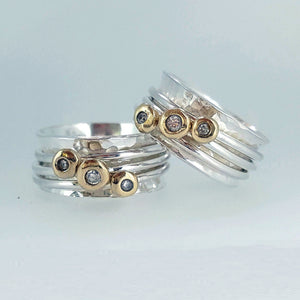 'Cariad' - Her & her gold & diamond wedding rings