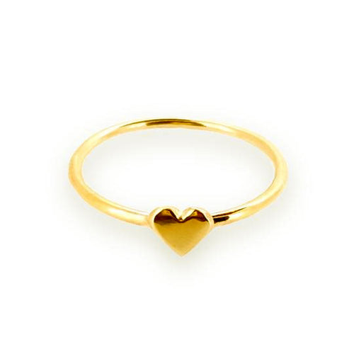 Dainty solid gold sweetheart rings with cute gold hearts