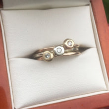 Load image into Gallery viewer, Gold stacking ring set with a diamond. Solid 9ct rose gold, white gold and yellow gold