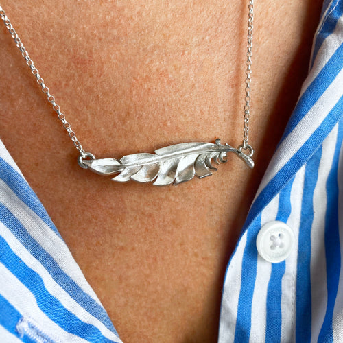 When you're near - Personalised silver feather necklace.