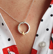 "Load image into Gallery viewer, ""One Power"" necklace with solid gold lightning bolt"
