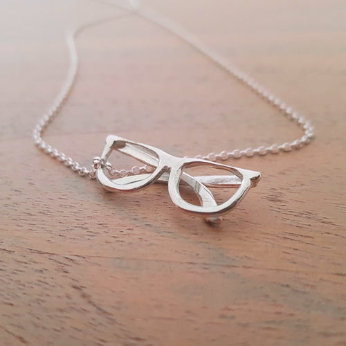 Solid silver spectacles pendant - necklace