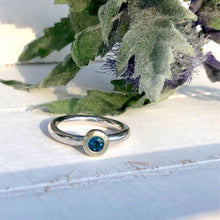 Load image into Gallery viewer, Chunky silver ring with gemstone set in solid gold