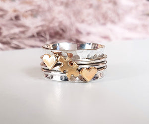 A Piece Of Me, jigsaw puzzle piece ring with two extra hearts