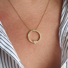 Load image into Gallery viewer, Solid gold 'One love' necklace with gold heart and diamond