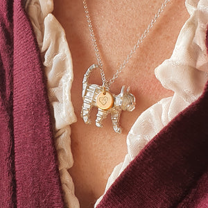 Tigerlily - Solid silver cat necklace with gold heart tag