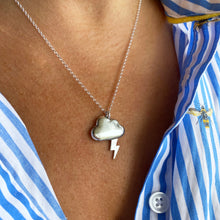 Load image into Gallery viewer, Silver Linings necklace - solid silver cloud with silver or gold lightning bolt
