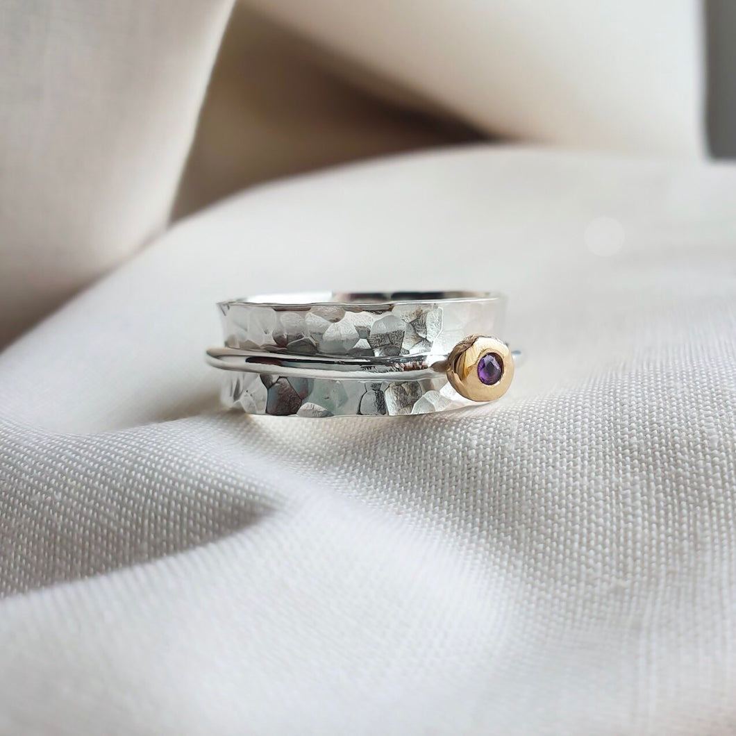'Always' Amethyst - Silver spinning ring with gold and amethyst.