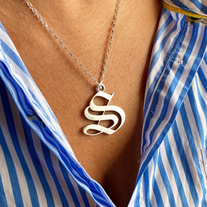 Solid silver letter necklace