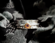 Load image into Gallery viewer, 'Always' Amethyst - Silver spinning ring with gold and amethyst.