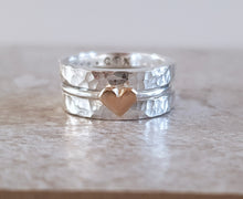Load image into Gallery viewer, 'One love' stacking set with silver rings and dainty solid gold heart