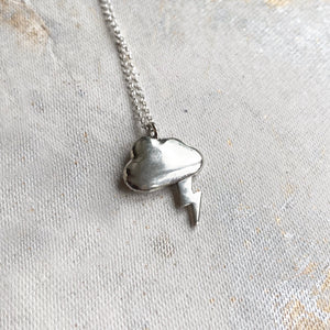 Silver Linings necklace - solid silver cloud with silver or gold lightning bolt