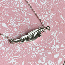 Load image into Gallery viewer, When you're near - Personalised silver feather necklace.