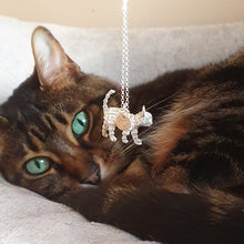 Load image into Gallery viewer, Tigerlily - Solid silver cat necklace with gold heart tag