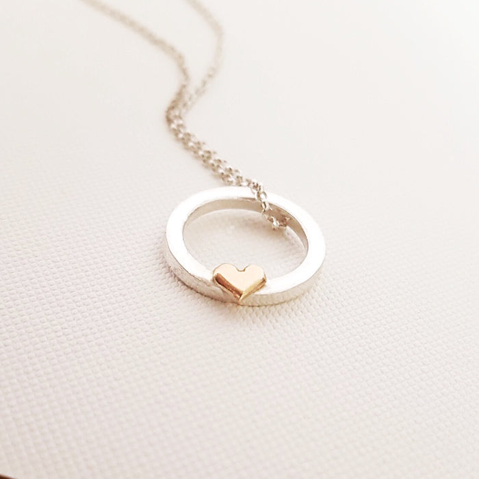 'One love' necklace with solid gold or silver heart