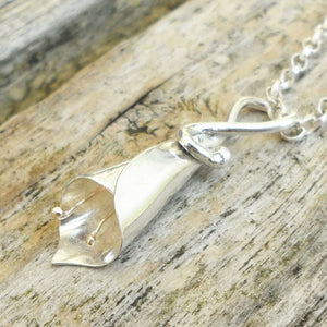 Sterling silver lily necklace with gleaming 9ct gold anthers.