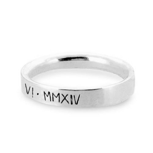 Personalised ladies' ring with Roman numerals. Sterling silver