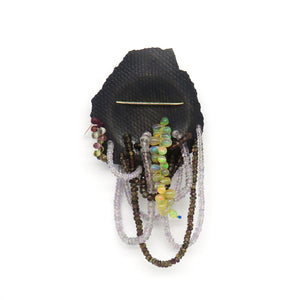 Black brooch with colourful beads - Tinsel Gallery