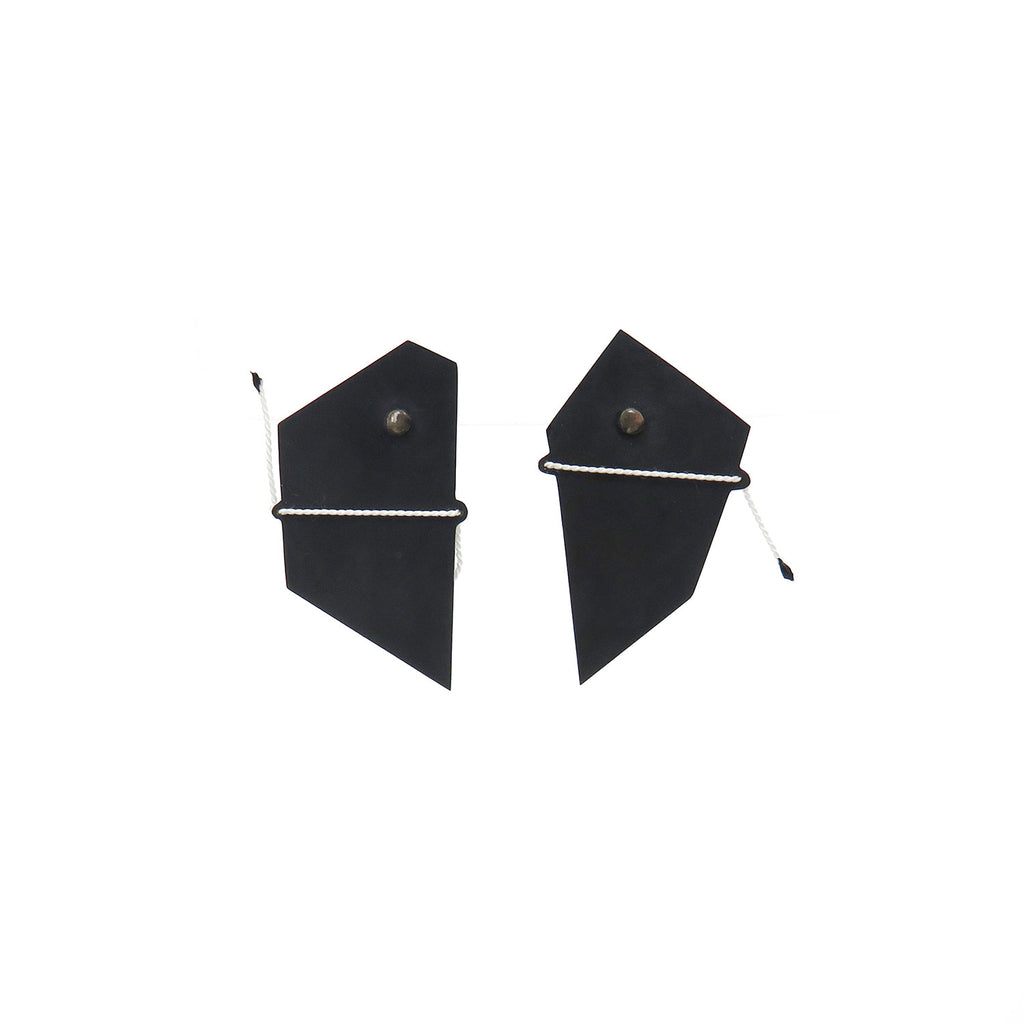 Black shadow studs with white thread - Tinsel Gallery