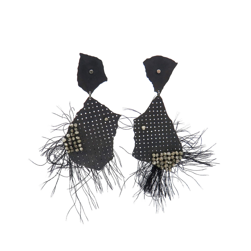 Black torn studs with diamonds and thread - Tinsel Gallery