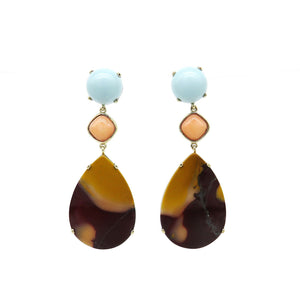 Brown/orange, pink and blue earrings - Tinsel Gallery