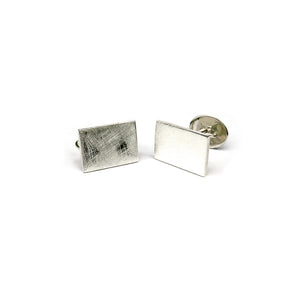 Silver scratched rectangle cufflinks - Tinsel Gallery