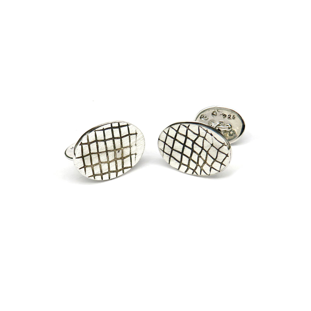 Silver lines pattern oval cufflinks - Tinsel Gallery