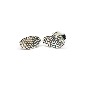 Silver lines pattern long oval cufflinks - Tinsel Gallery
