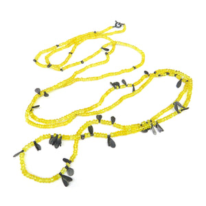 Yellow long bead necklace with black shapes - Tinsel Gallery
