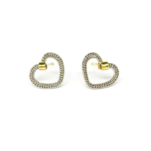 Platinum and gold woven heart studs