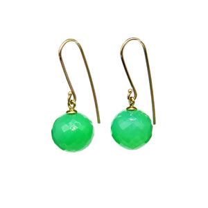 Green ball earrings