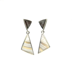 Triangle earrings with striped chalcedony - Tinsel Gallery