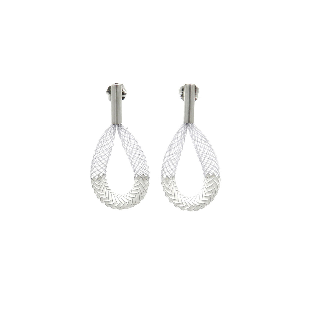 Small white mesh and silver earrings - Tinsel Gallery