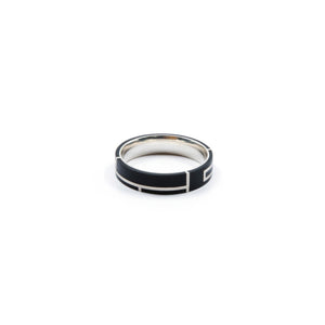 Silver and black ring by Lotti Jewellery