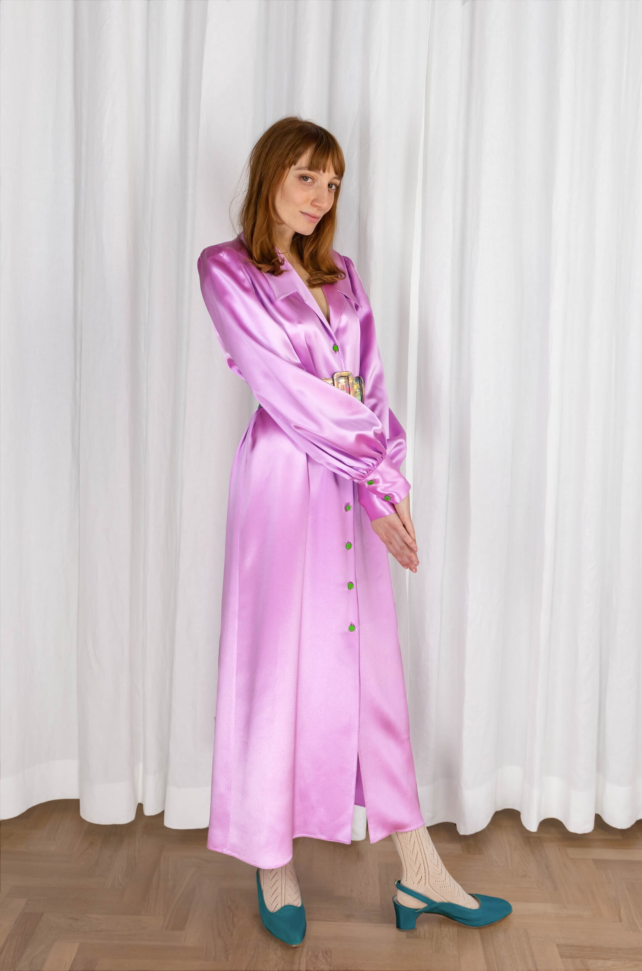 CHARLIE LONG DRESS - BALLERINA PINK SATIN