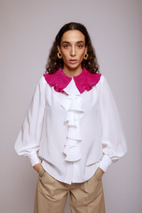 BUILD ME UP SHIRT WITH PLEATED COLLAR - ORCHIDEA WHITE