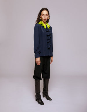 BUILD ME UP SHIRT WITH PLEATED COLLAR - ORCHIDEA PRUSSIAN BLUE