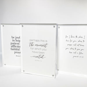 Scripture cards in acrylic frames