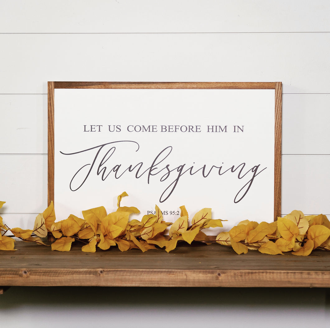 Thanksgiving scripture framed wood farmhouse sign