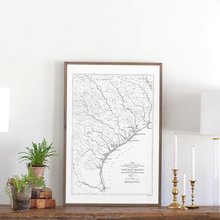 Load image into Gallery viewer, Close up view of Texas coastline map framed wood sign