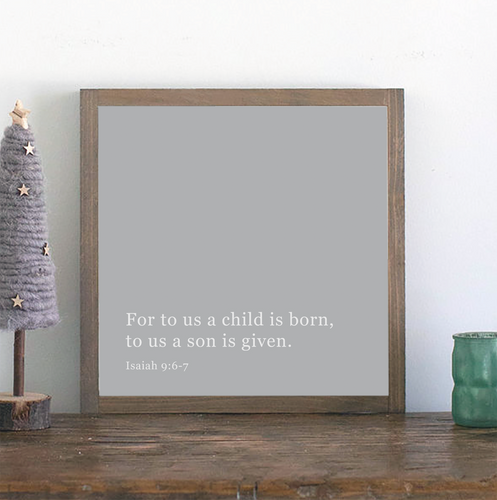 Gray framed wood sign with Christmas Scripture