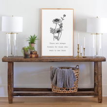 Load image into Gallery viewer, Wood sign with flower graphic Matisse quote