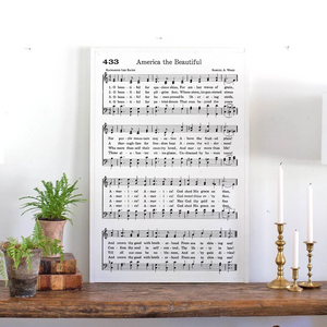 America the Beautiful Sheet Music Wood Sign