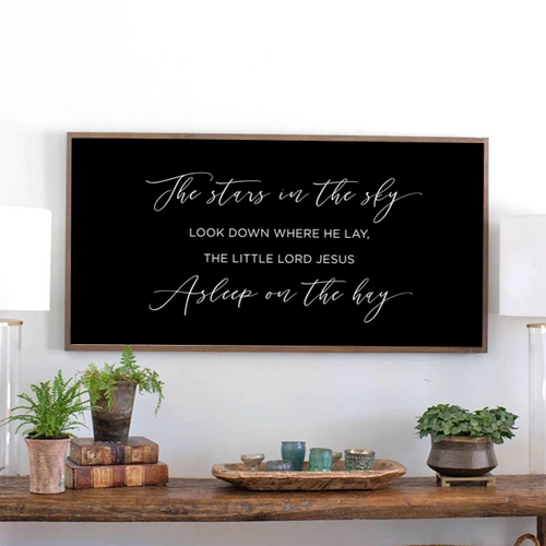 Away in the Manager Christmas carol modern farmhouse wood sign