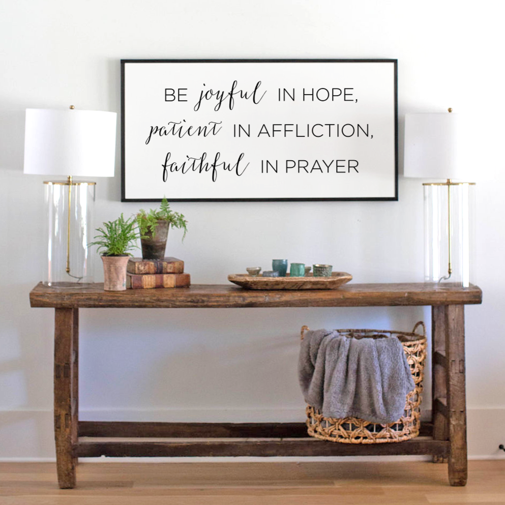 Be joyful in hope wood sign with Scripture from Romans 12 12