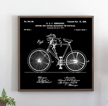 Load image into Gallery viewer, Vintage bicycle patent wood sign with black background