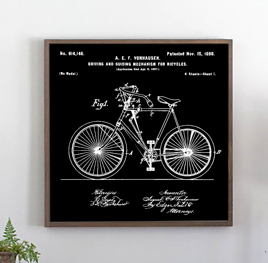 Vintage bicycle patent wood sign with black background